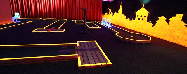 Mini Golf painted in blacklight